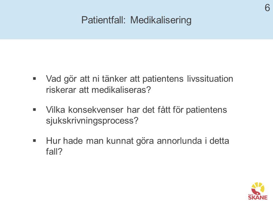 Patientfall: Medikalisering  Vad gör att ni tänker att patientens livssituation riskerar att medikaliseras.
