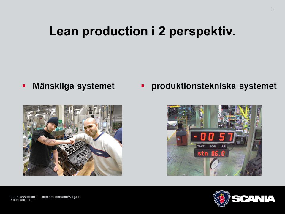 Your date here Info Class Internal Department/Name/Subject 3 Lean production i 2 perspektiv.  Mänskliga systemet  produktionstekniska systemet