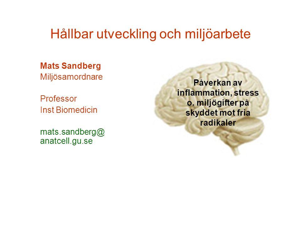 Hållbar utveckling och miljöarbete Mats Sandberg Miljösamordnare Professor Inst Biomedicin mats.sandberg@ anatcell.gu.se Påverkan av inflammation, stress o.