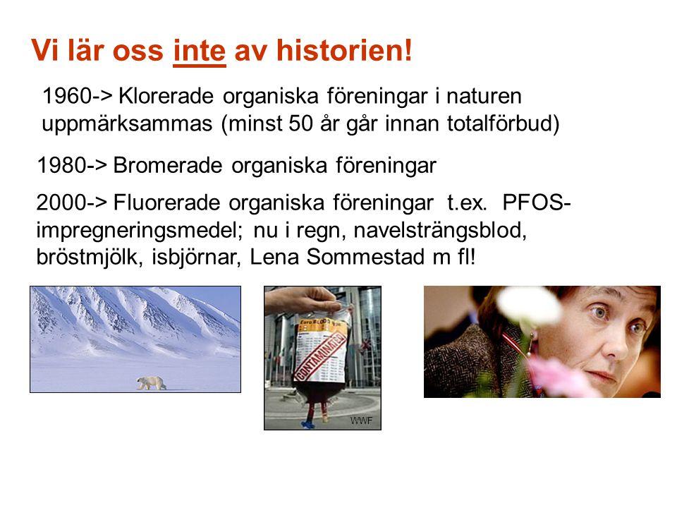 Vi lär oss inte av historien! 1960-> Klorerade organiska föreningar i naturen uppmärksammas (minst 50 år går innan totalförbud) 1980-> Bromerade organ