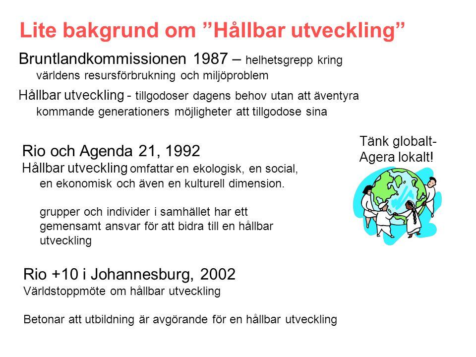 Bruntlandkommissionen 1987 – helhetsgrepp kring världens resursförbrukning och miljöproblem Hållbar utveckling - tillgodoser dagens behov utan att äventyra kommande generationers möjligheter att tillgodose sina Lite bakgrund om Hållbar utveckling Tänk globalt- Agera lokalt.