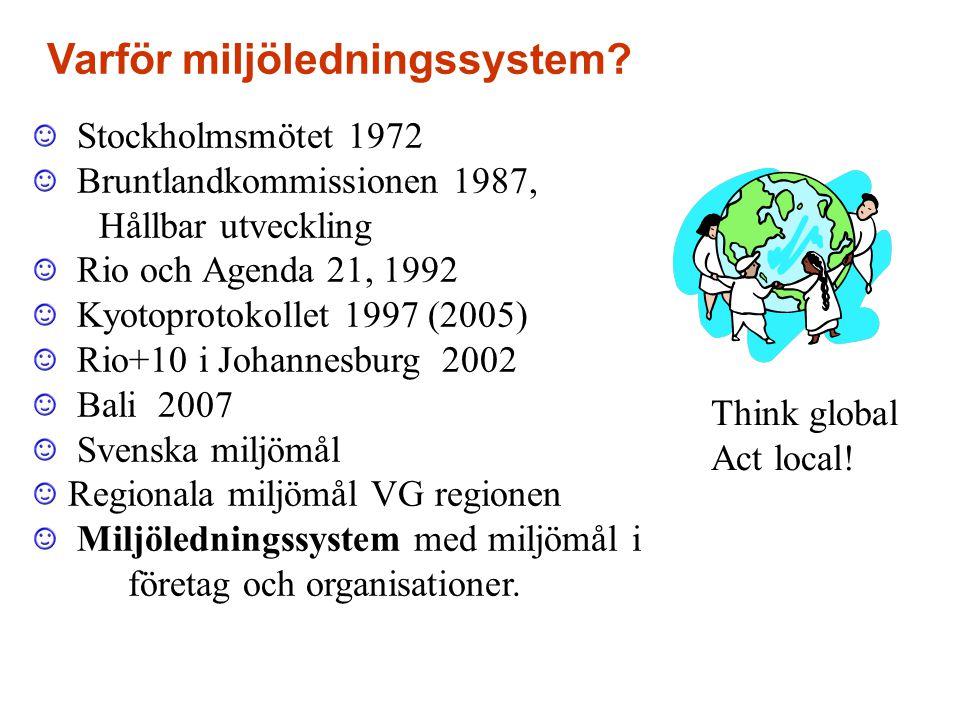 Stockholmsmötet 1972 Bruntlandkommissionen 1987, Hållbar utveckling Rio och Agenda 21, 1992 Kyotoprotokollet 1997 (2005) Rio+10 i Johannesburg 2002 Bali 2007 Svenska miljömål Regionala miljömål VG regionen Miljöledningssystem med miljömål i företag och organisationer.