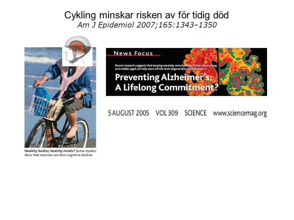 Cykling minskar risken av för tidig död Am J Epidemiol 2007;165:1343–1350