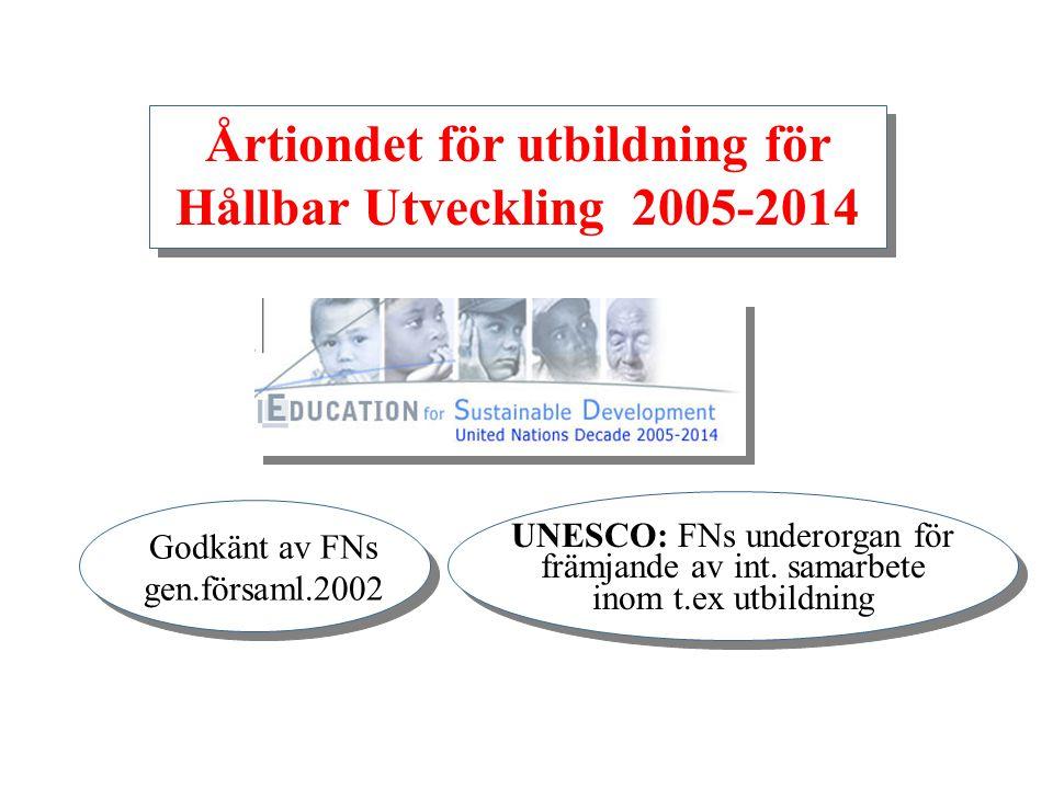 Årtiondet för utbildning för Hållbar Utveckling 2005-2014 UNESCO: FNs underorgan för främjande av int. samarbete inom t.ex utbildning Godkänt av FNs g