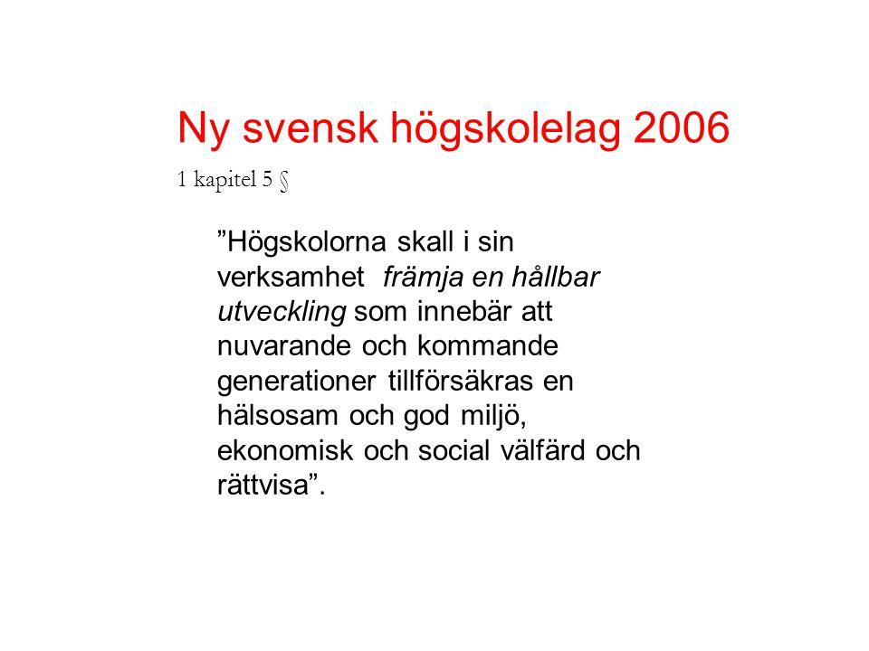 Ny svensk högskolelag 2006 1 kapitel 5 § Högskolorna skall i sin verksamhet främja en hållbar utveckling som innebär att nuvarande och kommande generationer tillförsäkras en hälsosam och god miljö, ekonomisk och social välfärd och rättvisa .