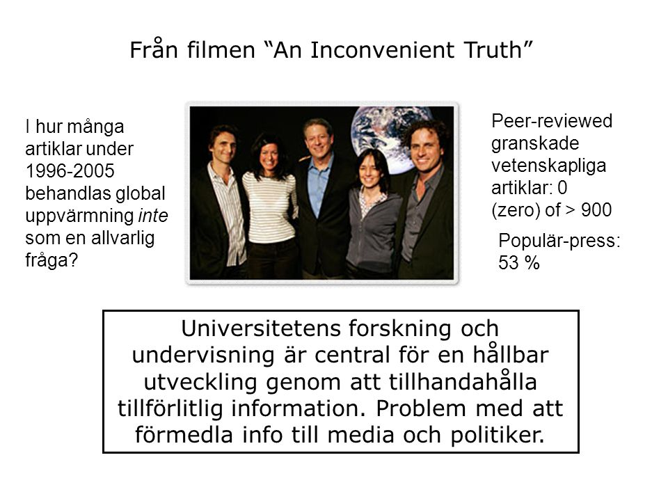 """Från filmen """"An Inconvenient Truth"""" I hur många artiklar under 1996-2005 behandlas global uppvärmning inte som en allvarlig fråga? Peer-reviewed grans"""