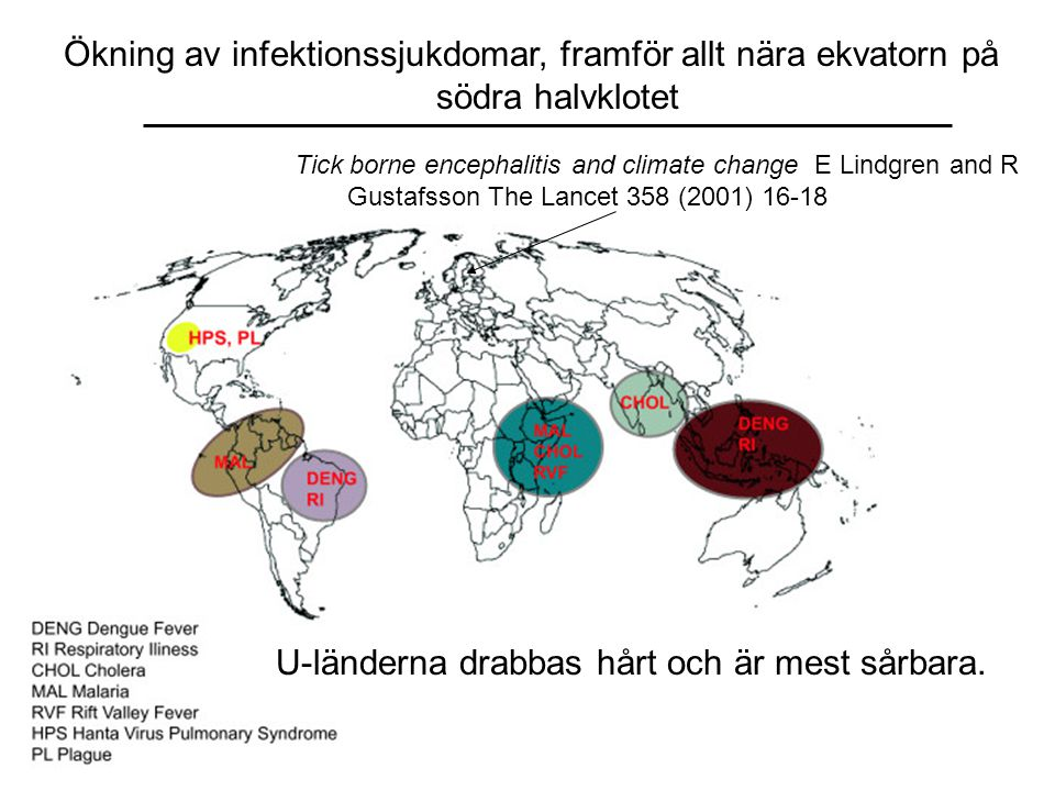 Tick borne encephalitis and climate change E Lindgren and R Gustafsson The Lancet 358 (2001) 16-18 Ökning av infektionssjukdomar, framför allt nära ekvatorn på södra halvklotet U-länderna drabbas hårt och är mest sårbara.