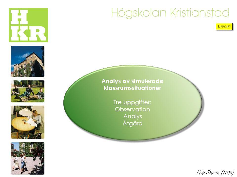 Analys av simulerade klassrumssituationer Tre uppgifter: Observation Analys Åtgärd Från Jönsson (2008)