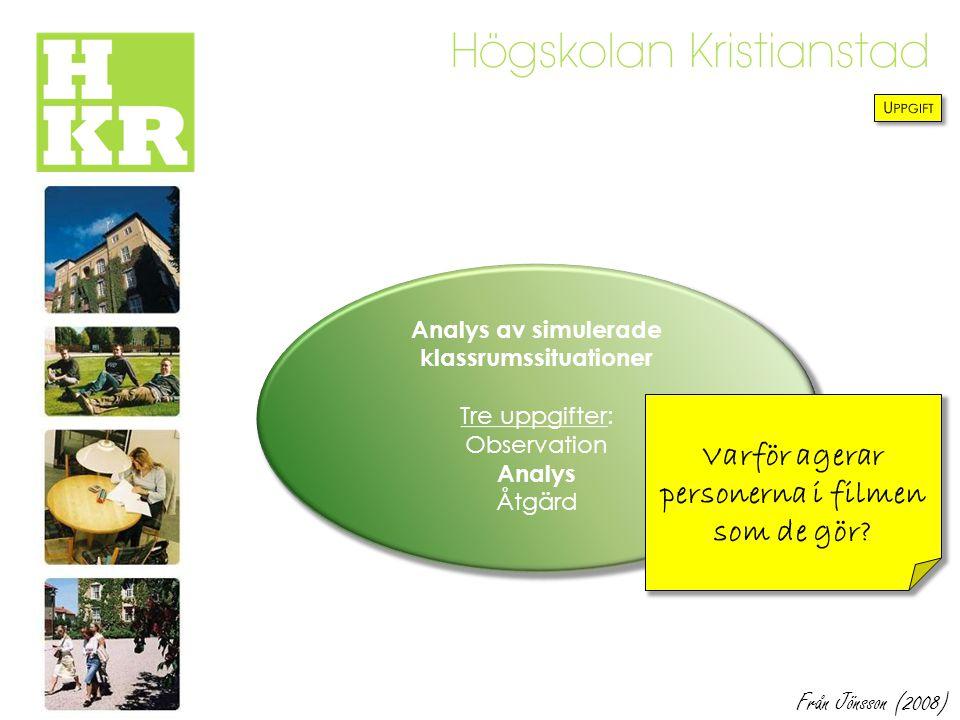 Analys av simulerade klassrumssituationer Tre uppgifter: Observation Analys Åtgärd Varför agerar personerna i filmen som de gör? Från Jönsson (2008)