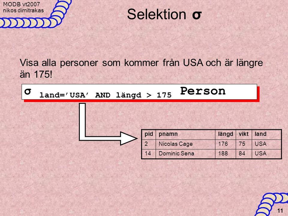 MODB v t2007 nikos dimitrakas 11 Selektion σ Visa alla personer som kommer från USA och är längre än 175! σ land='USA' AND längd > 175 Person pidpnamn