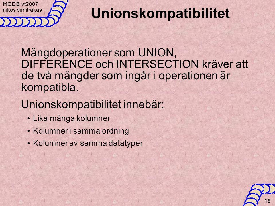 MODB v t2007 nikos dimitrakas 18 Unionskompatibilitet Mängdoperationer som UNION, DIFFERENCE och INTERSECTION kräver att de två mängder som ingår i op