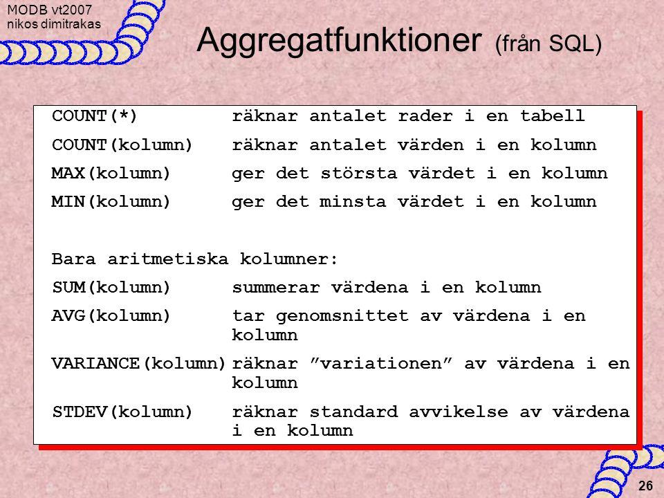 MODB v t2007 nikos dimitrakas 26 Aggregatfunktioner (från SQL) COUNT(*)räknar antalet rader i en tabell COUNT(kolumn)räknar antalet värden i en kolumn