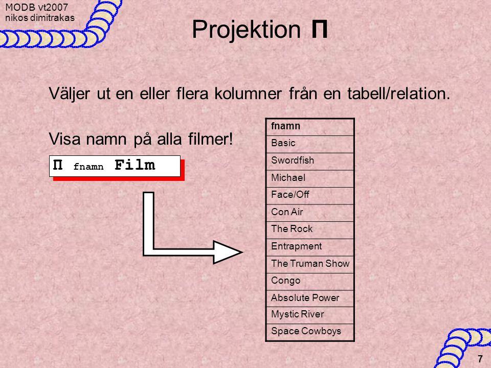 MODB v t2007 nikos dimitrakas 7 Projektion Π Π fnamn Film Väljer ut en eller flera kolumner från en tabell/relation. Visa namn på alla filmer! fnamn B