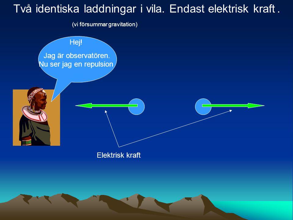 Elektrisk kraft Två identiska laddningar i vila. Endast elektrisk kraft. (vi försummar gravitation) Hej! Jag är observatören. Nu ser jag en repulsion