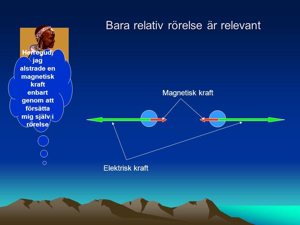 Bara relativ rörelse är relevant Elektrisk kraft Magnetisk kraft Herregud, jag alstrade en magnetisk kraft enbart genom att försätta mig själv i rörel