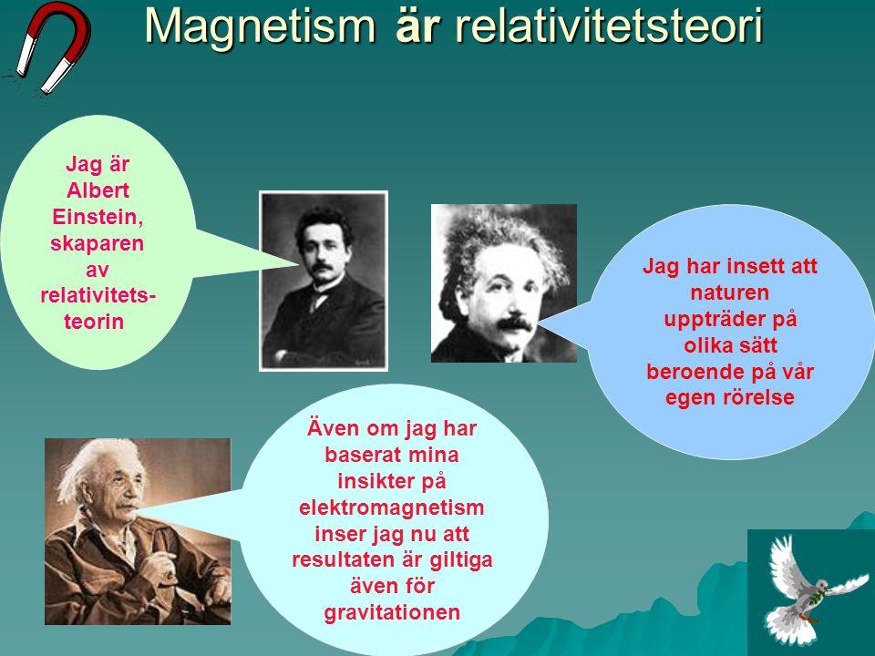 Magnetism är relativitetsteori Även om jag har baserat mina insikter på elektromagnetism inser jag nu att resultaten är giltiga även för gravitationen