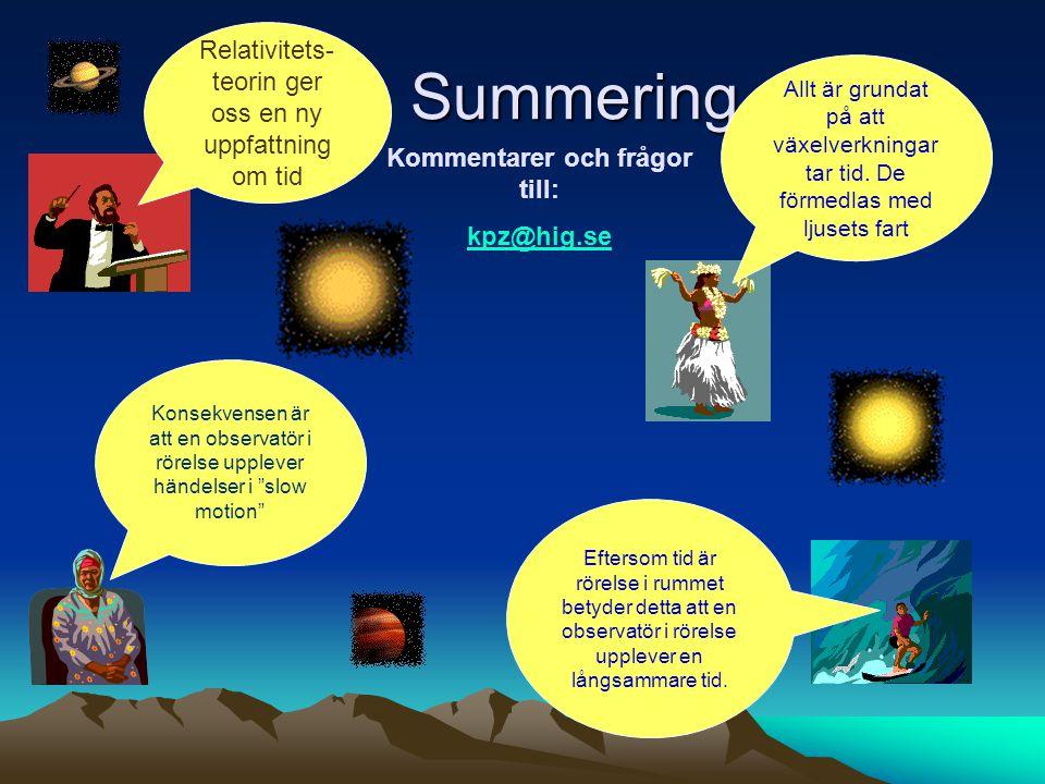 Summering Relativitets- teorin ger oss en ny uppfattning om tid Allt är grundat på att växelverkningar tar tid. De förmedlas med ljusets fart Konsekve