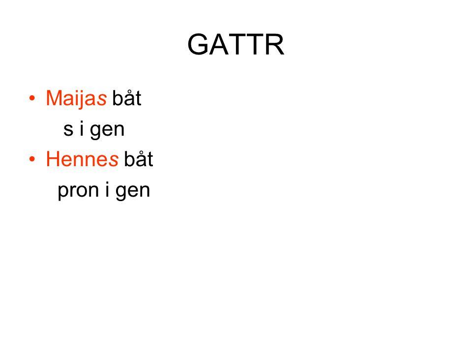 GATTR •Maijas båt s i gen •Hennes båt pron i gen