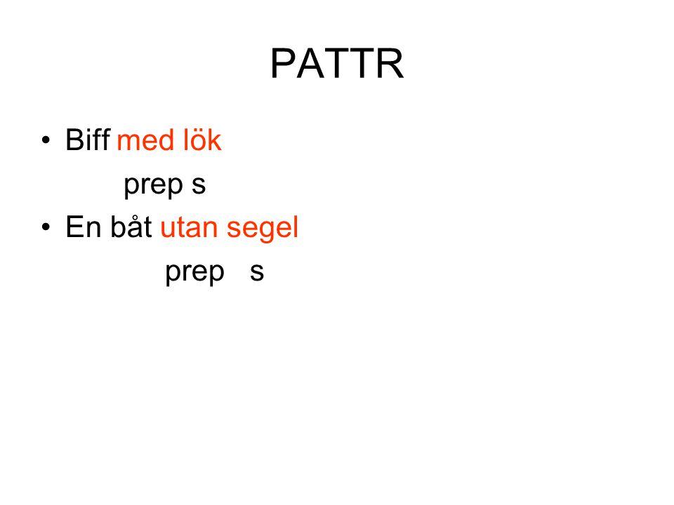 PATTR •Biff med lök prep s •En båt utan segel prep s