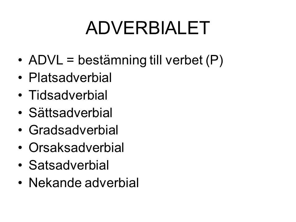 ADVERBIALET •ADVL = bestämning till verbet (P) •Platsadverbial •Tidsadverbial •Sättsadverbial •Gradsadverbial •Orsaksadverbial •Satsadverbial •Nekande