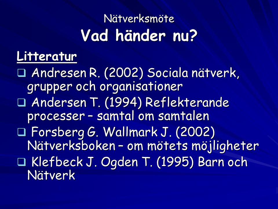Nätverksmöte Vad händer nu? Litteratur  Andresen R. (2002) Sociala nätverk, grupper och organisationer  Andersen T. (1994) Reflekterande processer –