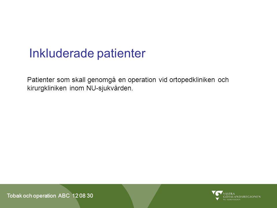 Tobak och operation ABC 12 08 30 Inkluderade patienter Patienter som skall genomgå en operation vid ortopedkliniken och kirurgkliniken inom NU-sjukvår