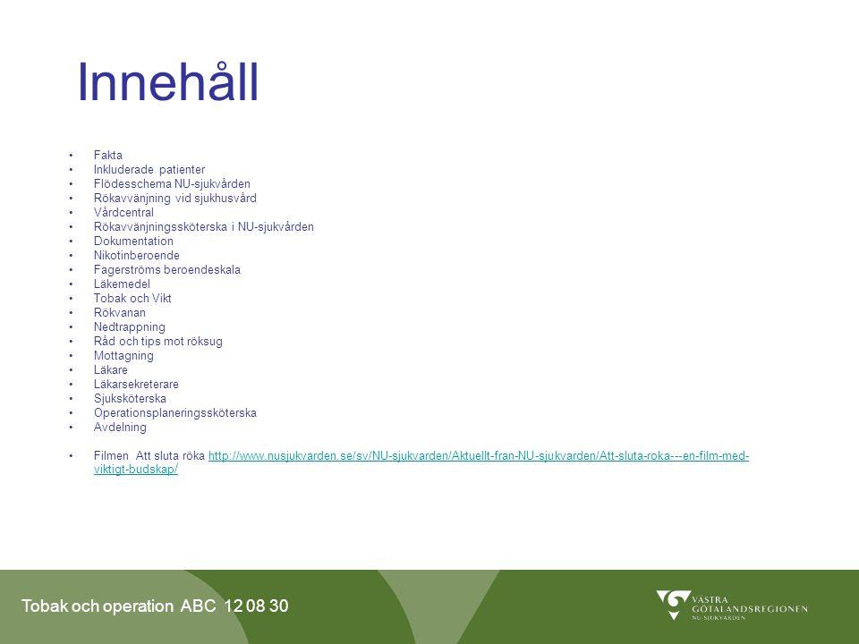 Tobak och operation ABC 12 08 30 Innehåll •Fakta •Inkluderade patienter •Flödesschema NU-sjukvården •Rökavvänjning vid sjukhusvård •Vårdcentral •Rökav