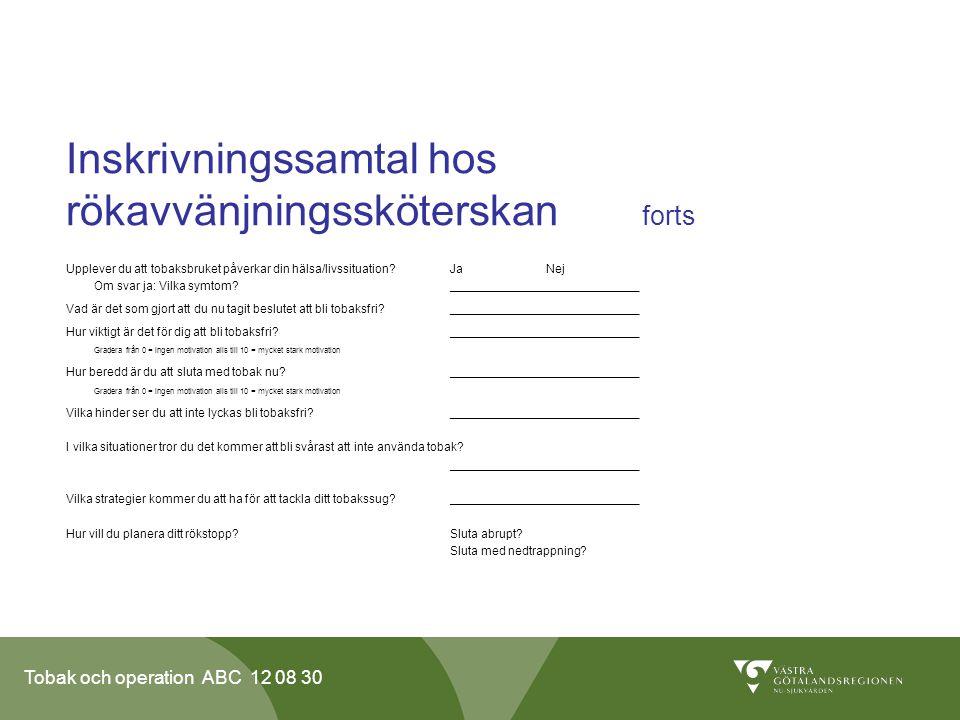 Tobak och operation ABC 12 08 30 Inskrivningssamtal hos rökavvänjningssköterskan forts Upplever du att tobaksbruket påverkar din hälsa/livssituation?J