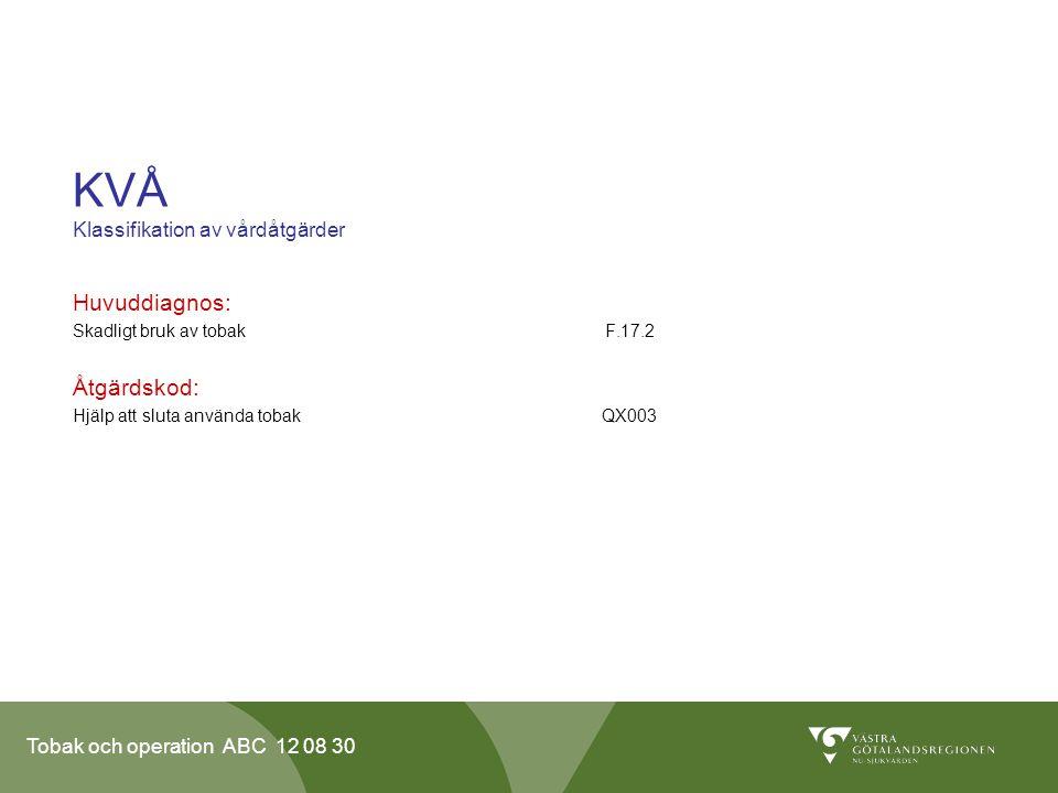 Tobak och operation ABC 12 08 30 KVÅ Klassifikation av vårdåtgärder Huvuddiagnos: Skadligt bruk av tobak F.17.2 Åtgärdskod: Hjälp att sluta använda to