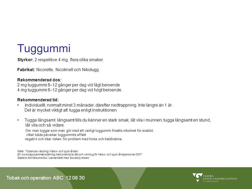 Tobak och operation ABC 12 08 30 Tuggummi Styrkor: 2 respektive 4 mg, flera olika smaker. Fabrikat: Nicorette, Nicotinell och Nikotugg. Rekommenderad