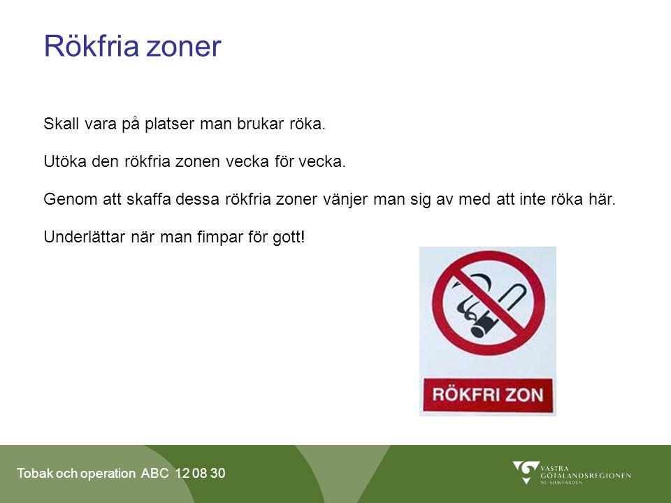 Tobak och operation ABC 12 08 30 Rökfria zoner Skall vara på platser man brukar röka. Utöka den rökfria zonen vecka för vecka. Genom att skaffa dessa
