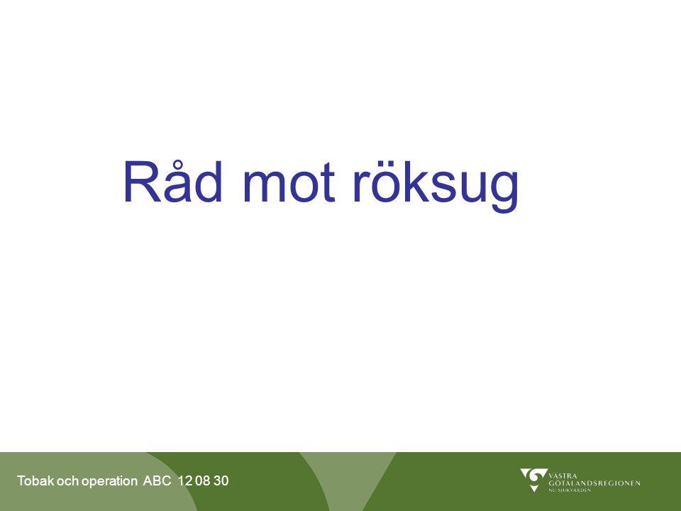 Tobak och operation ABC 12 08 30 Råd mot röksug
