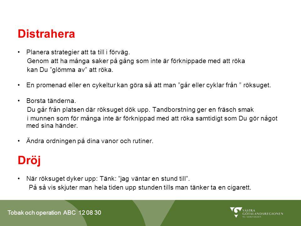 Tobak och operation ABC 12 08 30 Distrahera •Planera strategier att ta till i förväg. Genom att ha många saker på gång som inte är förknippade med att