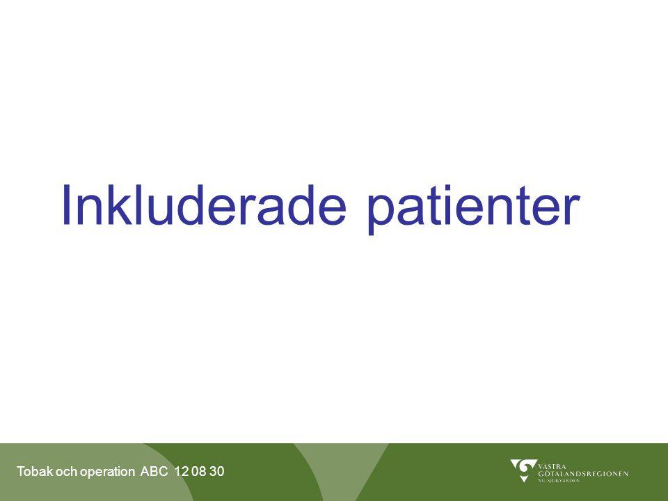 Tobak och operation ABC 12 08 30 Inkluderade patienter Patienter som skall genomgå en operation vid ortopedkliniken och kirurgkliniken inom NU-sjukvården.