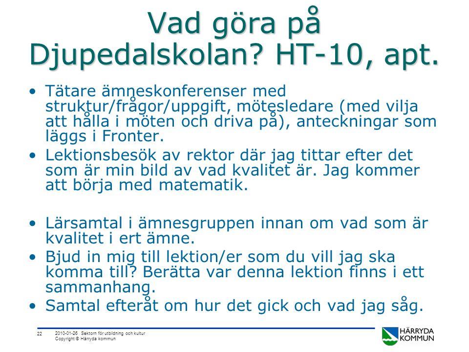 22 2010-01-26 Sektorn för utbildning och kultur Copyright © Härryda kommun Vad göra på Djupedalskolan? HT-10, apt. •Tätare ämneskonferenser med strukt