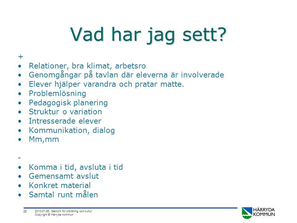 25 2010-01-26 Sektorn för utbildning och kultur Copyright © Härryda kommun Vad har jag sett? + •Relationer, bra klimat, arbetsro •Genomgångar på tavla
