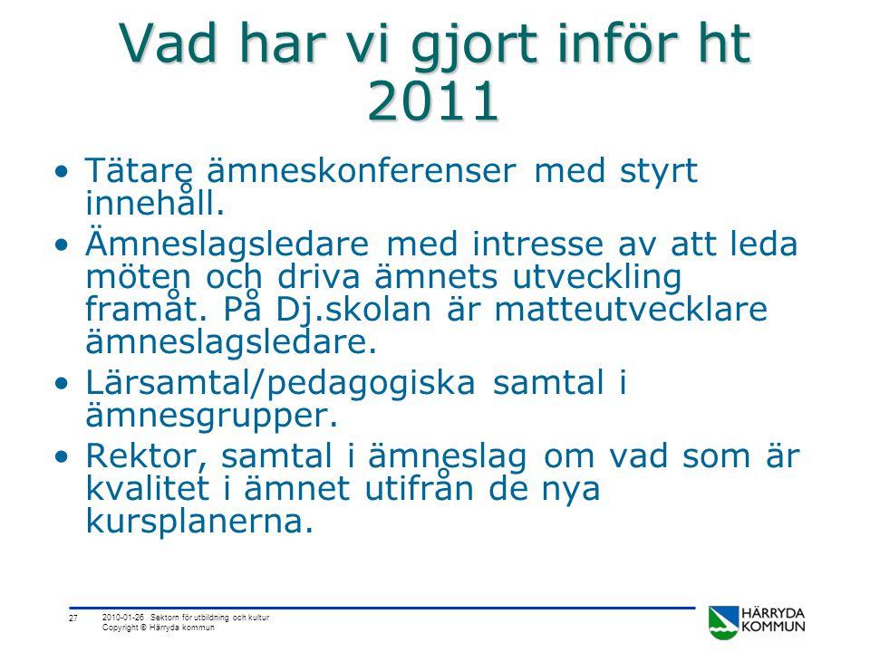 27 2010-01-26 Sektorn för utbildning och kultur Copyright © Härryda kommun Vad har vi gjort inför ht 2011 •Tätare ämneskonferenser med styrt innehåll.