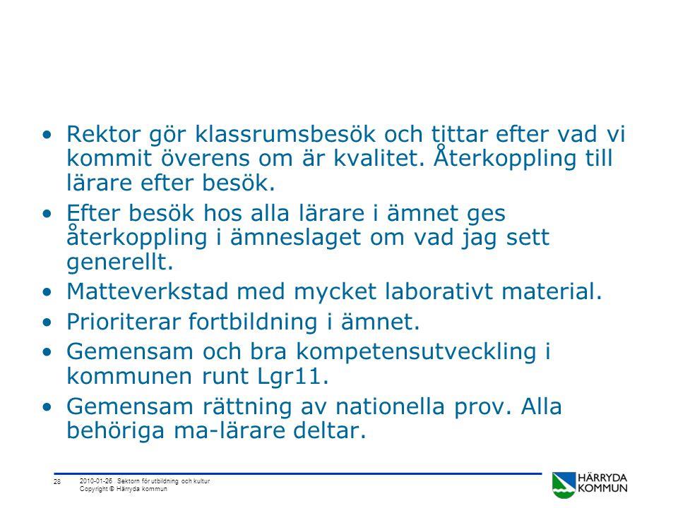 28 2010-01-26 Sektorn för utbildning och kultur Copyright © Härryda kommun •Rektor gör klassrumsbesök och tittar efter vad vi kommit överens om är kvalitet.