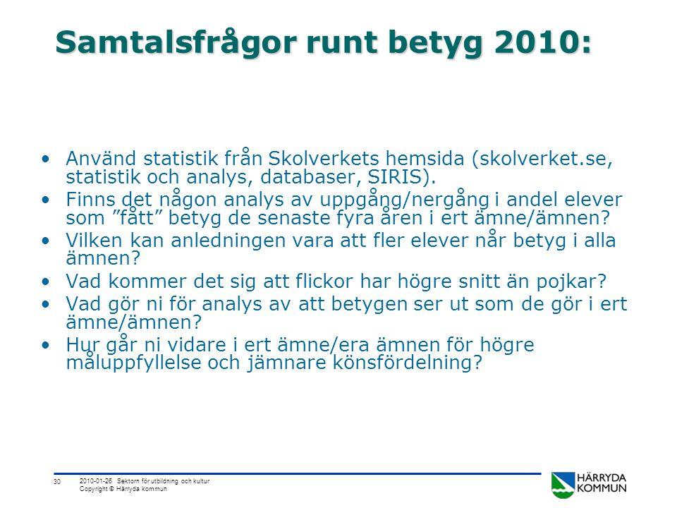 30 2010-01-26 Sektorn för utbildning och kultur Copyright © Härryda kommun Samtalsfrågor runt betyg 2010: •Använd statistik från Skolverkets hemsida (skolverket.se, statistik och analys, databaser, SIRIS).