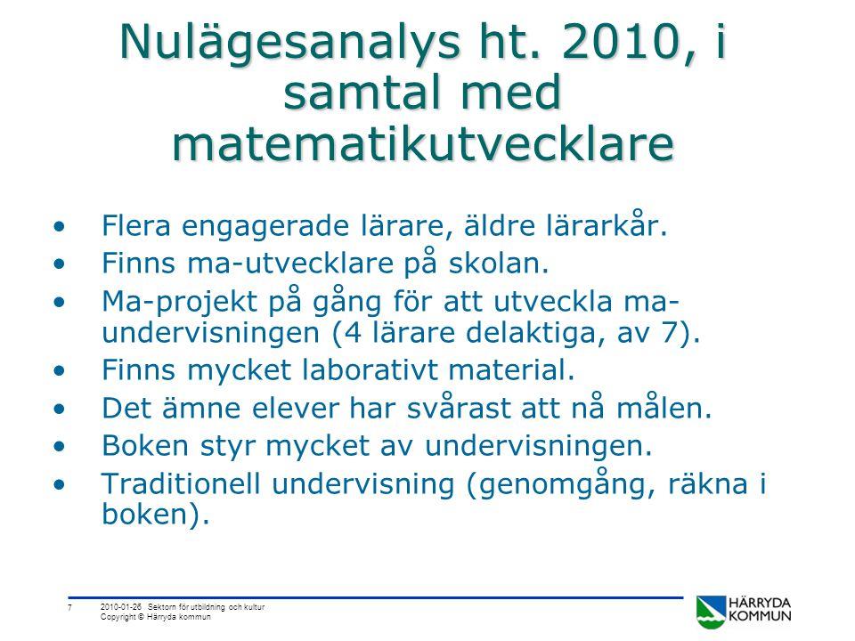 7 Nulägesanalys ht. 2010, i samtal med matematikutvecklare •Flera engagerade lärare, äldre lärarkår. •Finns ma-utvecklare på skolan. •Ma-projekt på gå
