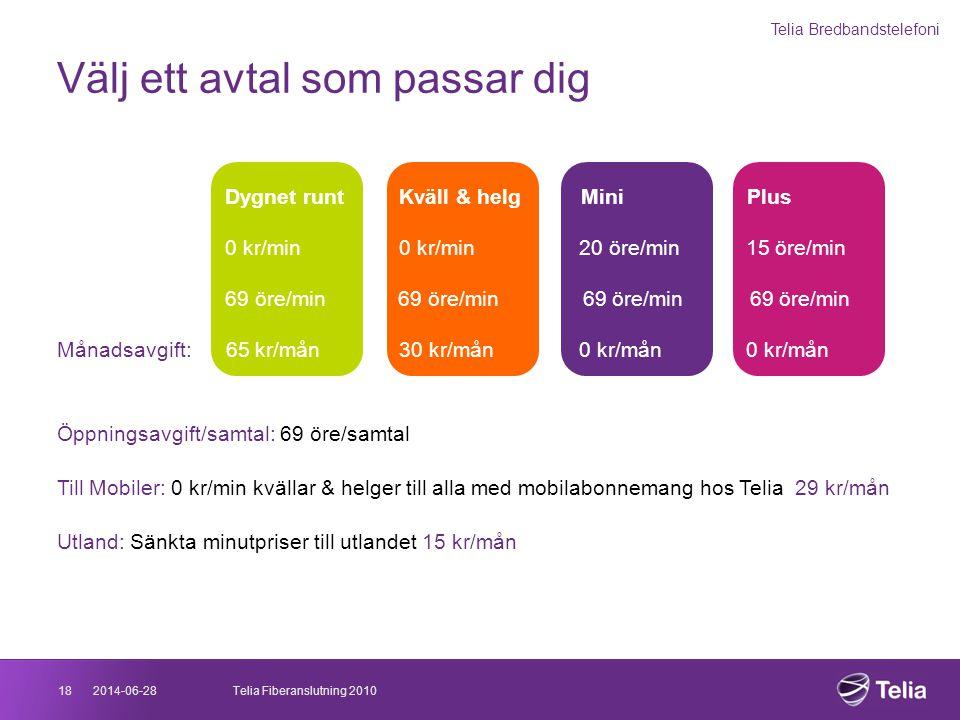2014-06-2818Telia Fiberanslutning 2010 Välj ett avtal som passar dig Telia Bredbandstelefoni Prisavtal: Dygnet runt Kväll & helg Mini Plus Till fasta