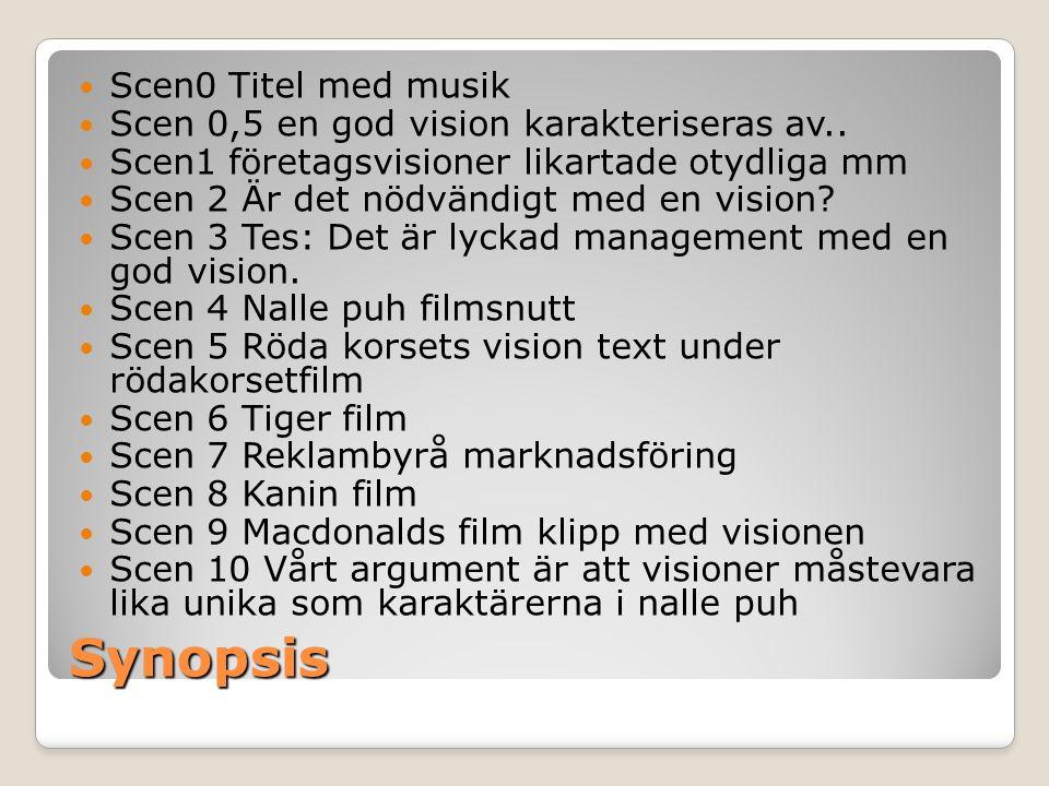 Synopsis  Scen0 Titel med musik  Scen 0,5 en god vision karakteriseras av..  Scen1 företagsvisioner likartade otydliga mm  Scen 2 Är det nödvändig