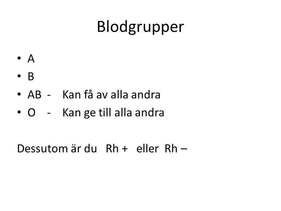 Blodgrupper • A • B • AB - Kan få av alla andra • O - Kan ge till alla andra Dessutom är du Rh + eller Rh –