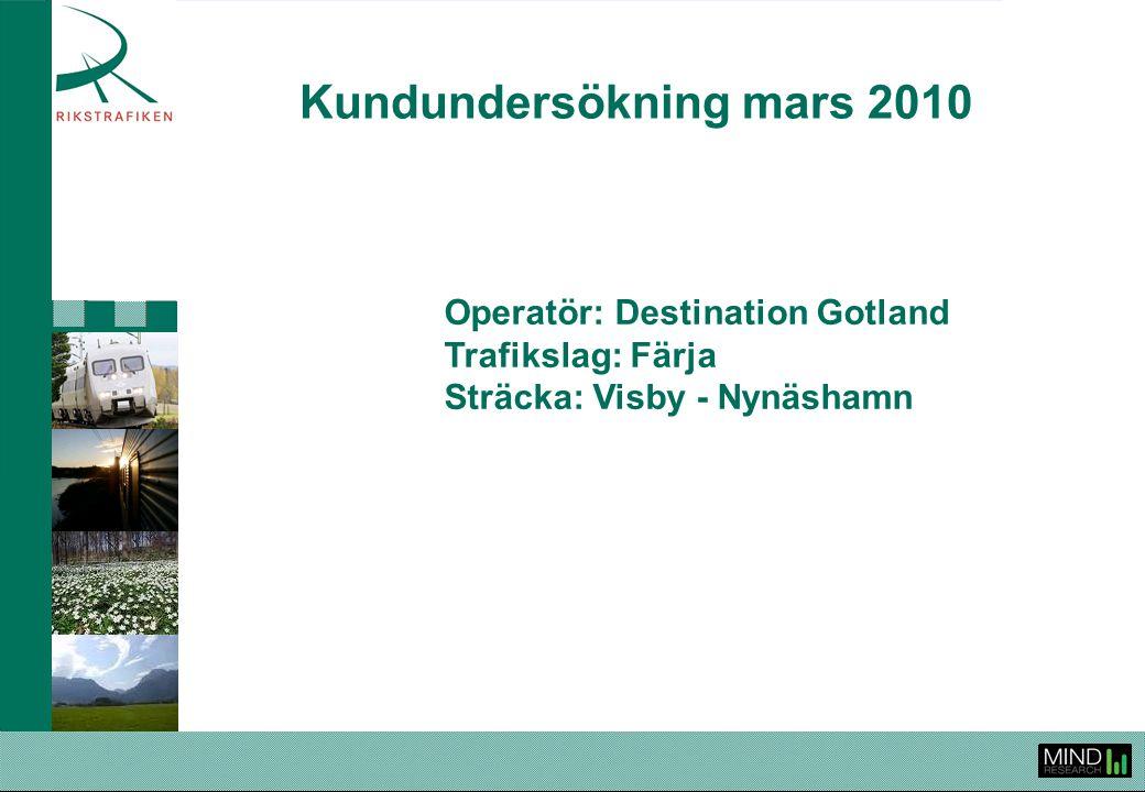 Rikstrafiken Kundundersökning våren 2010 Destination Gotland Visby - Nynäshamn 2 Rikstrafiken genomför årligen kundundersökningar för att följa upp och utvärdera upphandlad trafik, ge operatörerna ett verktyg i deras arbete att höja den kundupplevda kvaliteten samt för att sprida information om kollektivtrafiken och Rikstrafiken.