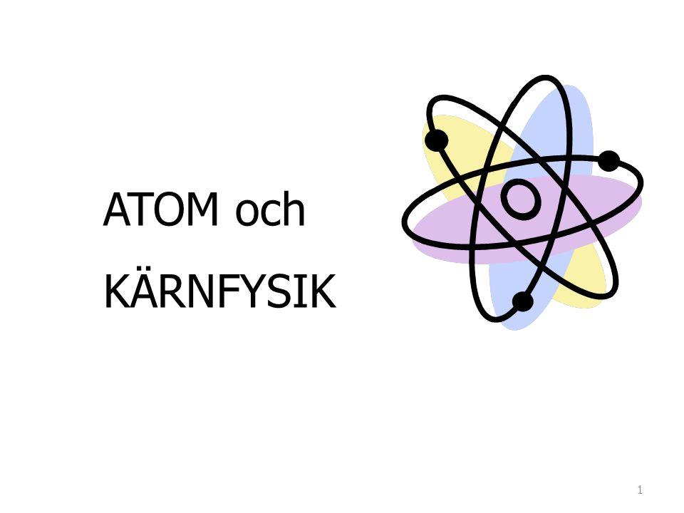 Vanligt väte Tungt väte (Deuterium) Tritium En proton En proton och en neutron En proton och två neutroner Atomnummer = 1 Masstal = 1Masstal = 2Masstal = 3 V ä tets tre isotoper.