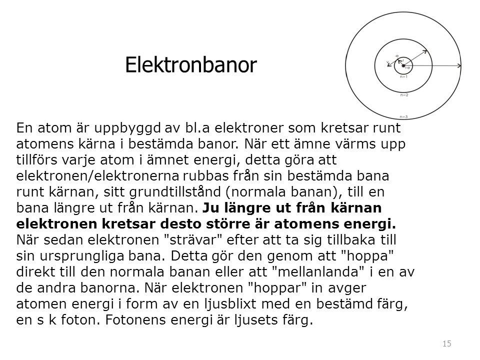 En atom ä r uppbyggd av bl.a elektroner som kretsar runt atomens k ä rna i best ä mda banor. N ä r ett ä mne v ä rms upp tillf ö rs varje atom i ä mne