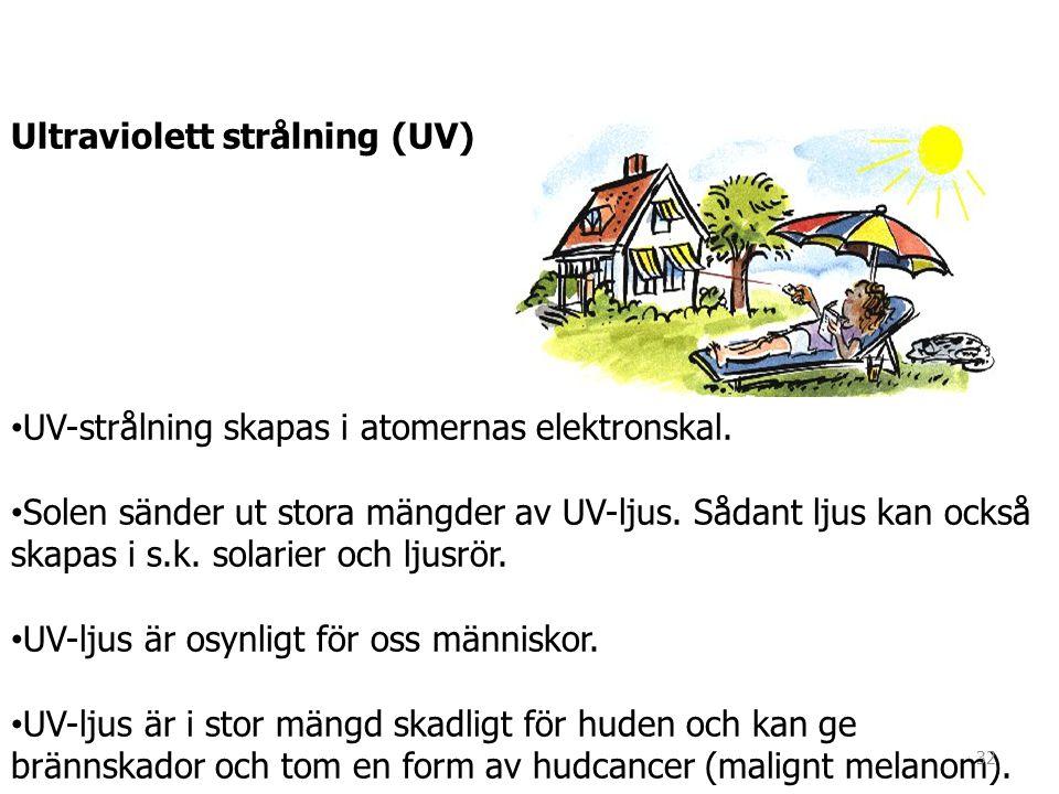 Ultraviolett strålning (UV) • UV-strålning skapas i atomernas elektronskal. • Solen sänder ut stora mängder av UV-ljus. Sådant ljus kan också skapas i