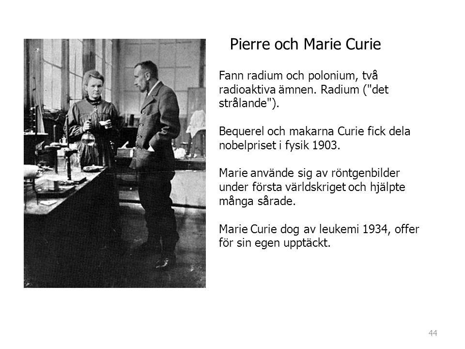 Pierre och Marie Curie Fann radium och polonium, två radioaktiva ämnen. Radium (