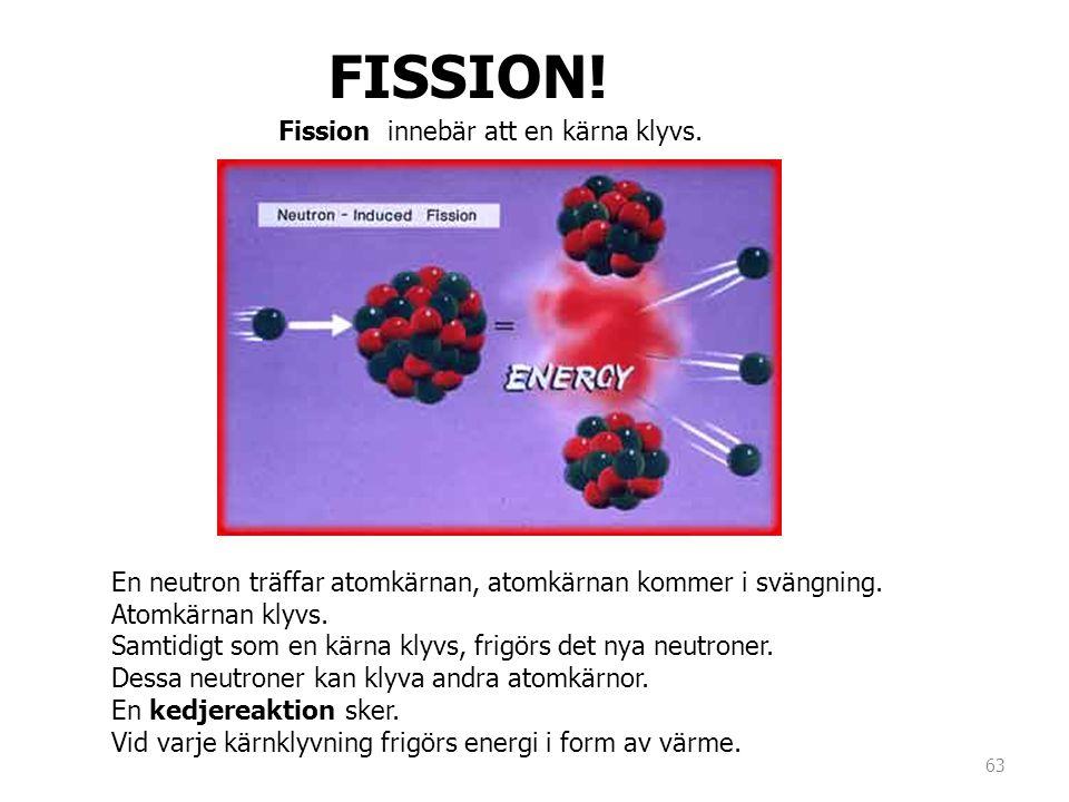 FISSION! En neutron träffar atomkärnan, atomkärnan kommer i svängning. Atomkärnan klyvs. Samtidigt som en kärna klyvs, frigörs det nya neutroner. Dess
