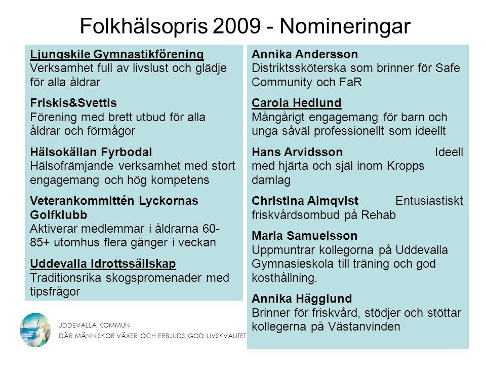 UDDEVALLA KOMMUN DÄR MÄNNISKOR VÄXER OCH ERBJUDS GOD LIVSKVALITET Folkhälsopris 2009 - Nomineringar Annika Andersson Distriktssköterska som brinner fö